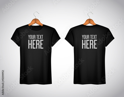 Men black T-shirt. Realistic mockup whit brand text for advertis
