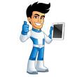 Héroe con una tablet en la mano