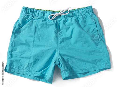 Blue swim trunks isolated on white background. Canvas Print
