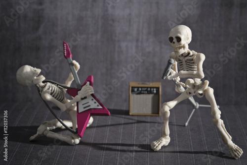 Two skeletons playing rock music Fototapet