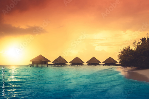 Fotografie, Obraz  Sunset on Maldives island