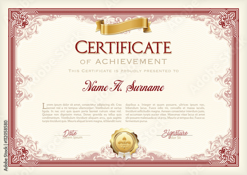 Fotografia  Certificate of Achievement Vintage Frame with Gold Ribbon