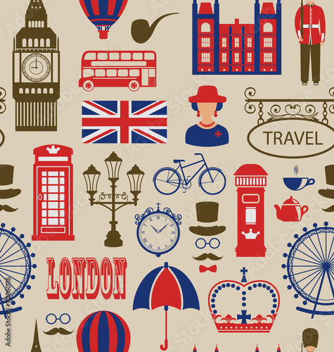 Tuinposter Doodle Old Seamless Texture of Silhouettes Symbols of Great Britain,
