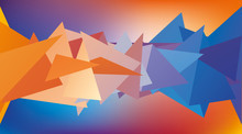 Multicolored Low Polygon Shapes, Color Mosaic, Vector Design, Creative Background, Blue And Orange, Templates Design