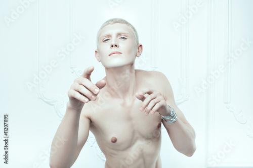 Fotografie, Obraz  Male albino with white skin.
