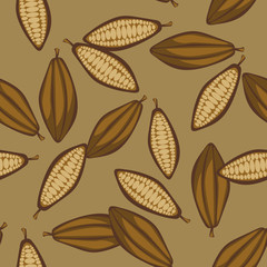 Fototapeta Koktajle Cocoa beans seamless pattern. Chocolate background. Organic raw cocoa beans brown beige pattern.