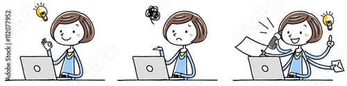 イラスト素材:若い女性 パソコン 操作 バリエーション Canvas Print