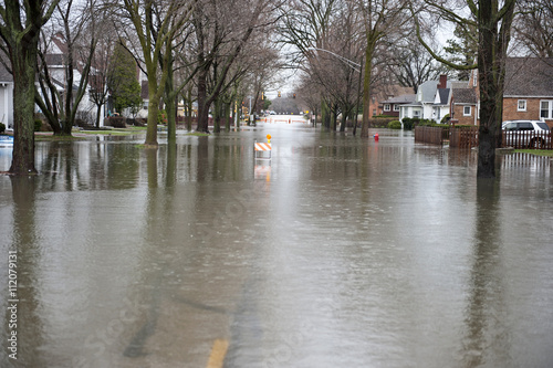Fotografie, Obraz Flooded Roadway Outdoors
