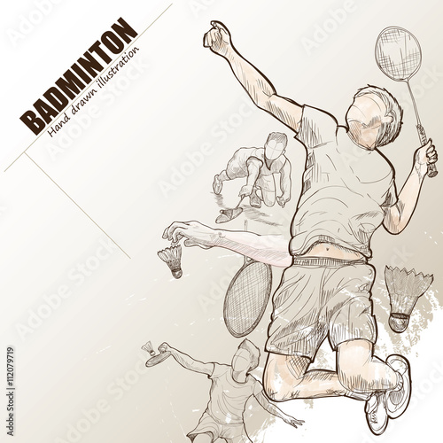 Obrazy Badminton   illustration-of-badminton-hand-drawn-badminton-poster-sport-background
