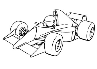 Fototapetachild's funny cartoon formula race car illustration art