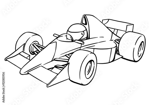 child's funny cartoon formula race car illustration art - 112085956