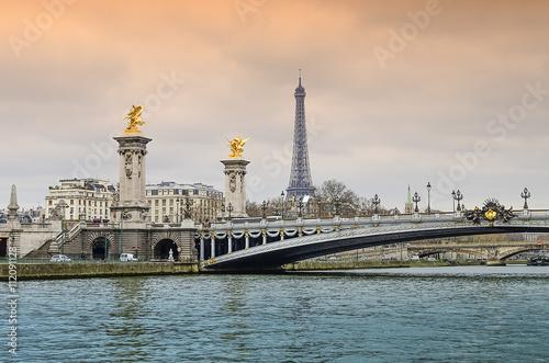 Poster Artistique Alexander bridge in Paris, Eiffel Tower