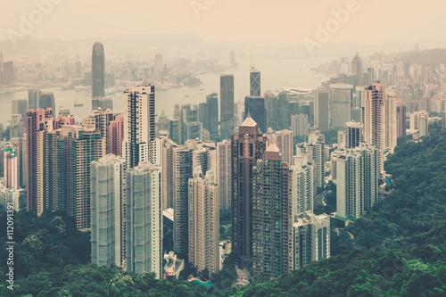 Zdjęcie XXL Hong Kong śródmieścia widok od Wiktoria szczytu