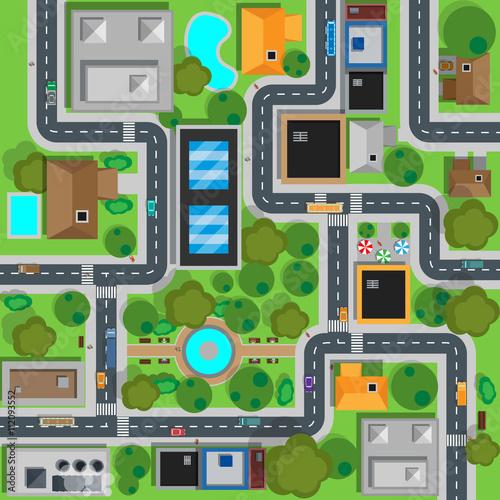 Foto op Plexiglas Op straat Map of City Top View Design Flat