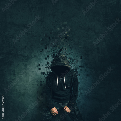Spooky evil criminal person with hooded jacket dissolving Wallpaper Mural