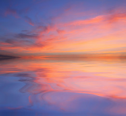 Natural background of the colorful sky and beautiful water reflection, During the time sunrise and sunset