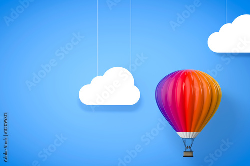 Recess Fitting Balloon Hot Air Balloon. 3d Rendering