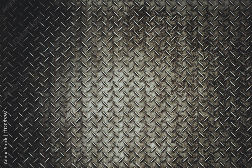 Back Grunge steel floor plate background in vitage light