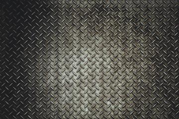 Back Grunge steel floor plate background in vitage light