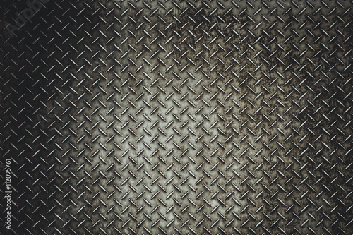 Fotografia Back Grunge steel floor plate background in vitage light