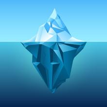 Iceberg In Blue Ocean Vector Background. Polygonal Iceberg Underwater, Metaphor Business Iceberg Northern On Water Sea Illustration