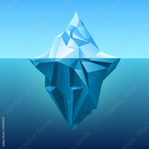 Photo Iceberg in blue ocean vector background