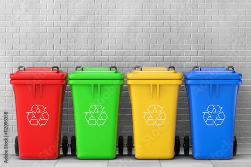 Fotografie, Obraz  Vícebarevné Garbage odpadkových košů. 3D vykreslování