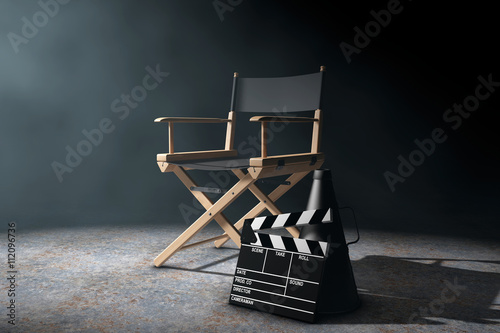 Fototapeta  Director Chair, Movie Clapper and Megaphone in the volumetric li