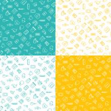 Medicine Ison Seamless Pattern Flat Line Set Of 4 Mint Yellow White