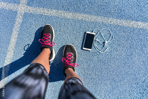 Shoes On Ready Selfie To Feet Blue Girl Running Track Lane Getting lK1JcTF