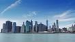 NYC New York City panoramic cityscape Manhattan skyline sunny day blue sky time lapse