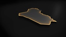 Seamless Looping 3D Animation Of The Map Of Iraq Including 2 Versions And Alpha Matte