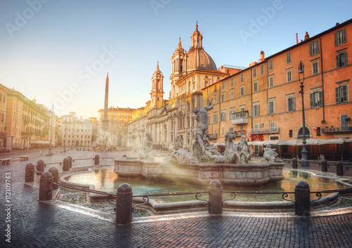 Piazza Navona during sunrise, Rome, Italy