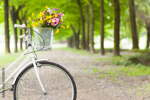 Foto op Plexiglas Fiets Vintage bicycle with flowers in basket at the park