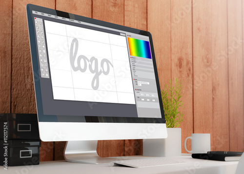 Photo  modern workspace with computer graphic design