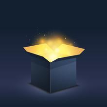 Blue Box With Magic Golden Light On Dark