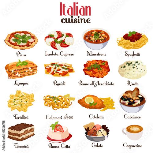 Fotografiet Italian Cuisine Icons