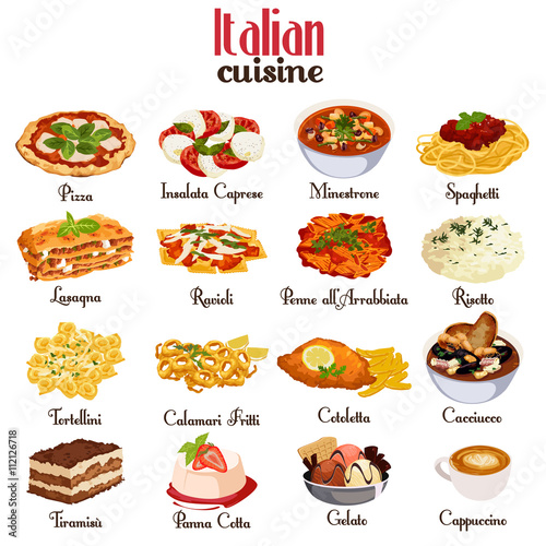 Fototapeta Italian Cuisine Icons