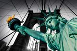 Liberty Statue and Brooklyn bridge New York - 112134133