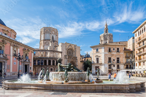 Views of the different buildings and streets of the city of Valencia, Spain