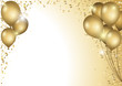 Holiday Background With Gold Balloons and Falling Confetti - Colored Illustration, Vector