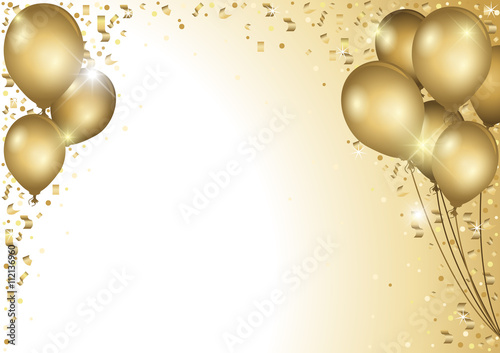 Billede på lærred Holiday Background With Gold Balloons and Falling Confetti - Colored Illustratio