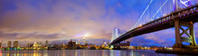 Ben Franklin Bridge And Philadelphia Skyline Panorama At Dusk, US