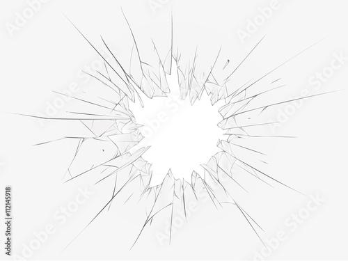 Fotografie, Obraz  Broken glass, white background. Vector illustration