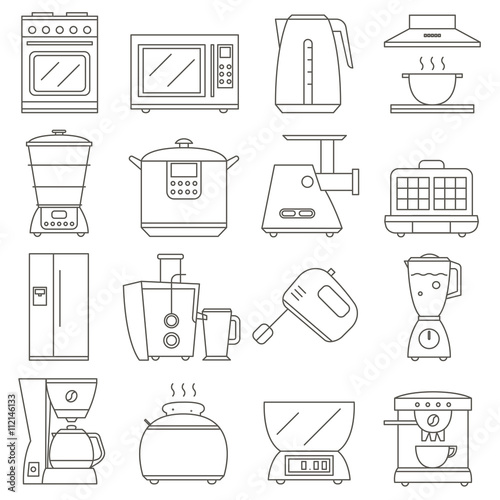 kitchen electrical design big set of line icon of electrical kitchen appliances isolated on  icon of electrical kitchen appliances