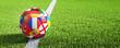 canvas print picture - Fußball auf Rasen - Anstoss