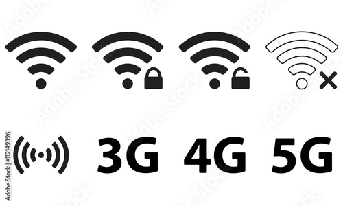 wireless and wifi icon set for remote internet access