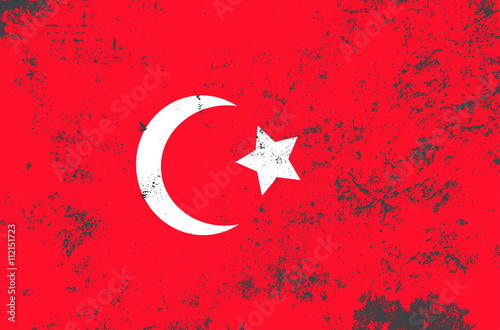 Vector Grunge Style Republic Of Turkey State Flag Shabby Design Of