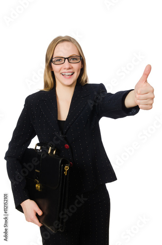 Fototapety, obrazy: Woman businesswoman with briefcase isolated on white