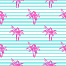 Palm Trees Seamless Vector Pattern. Tropical Beach Summer Pink Palms Pattern On Blue Stripes For Textile Fabric, Cards Background And Scrapbooking.